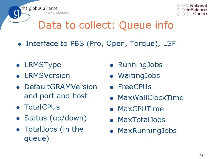 Data to collect: Queue info l Interface to PBS (Pro, Open, Torque), LSF l