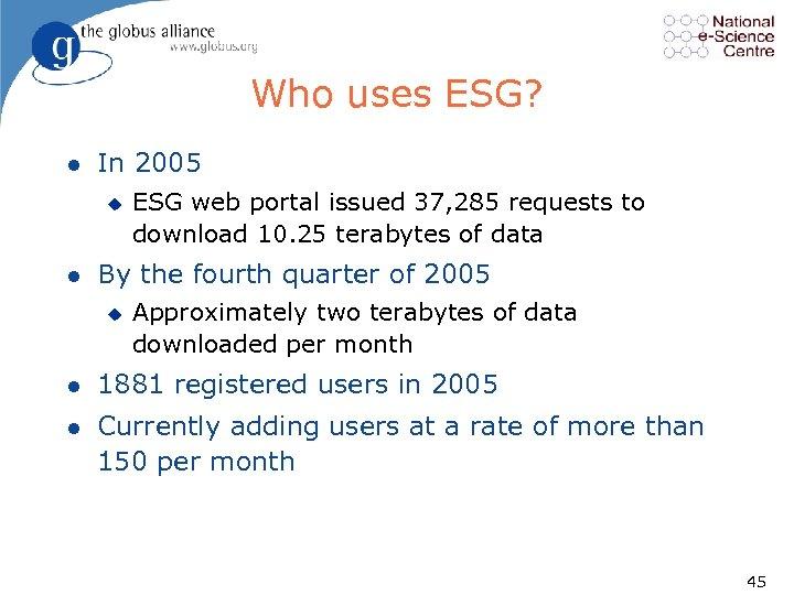 Who uses ESG? l In 2005 u l ESG web portal issued 37, 285