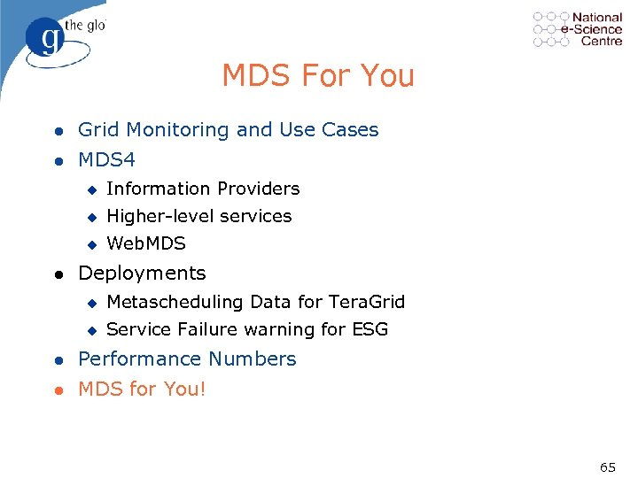 MDS For You l Grid Monitoring and Use Cases l MDS 4 u u
