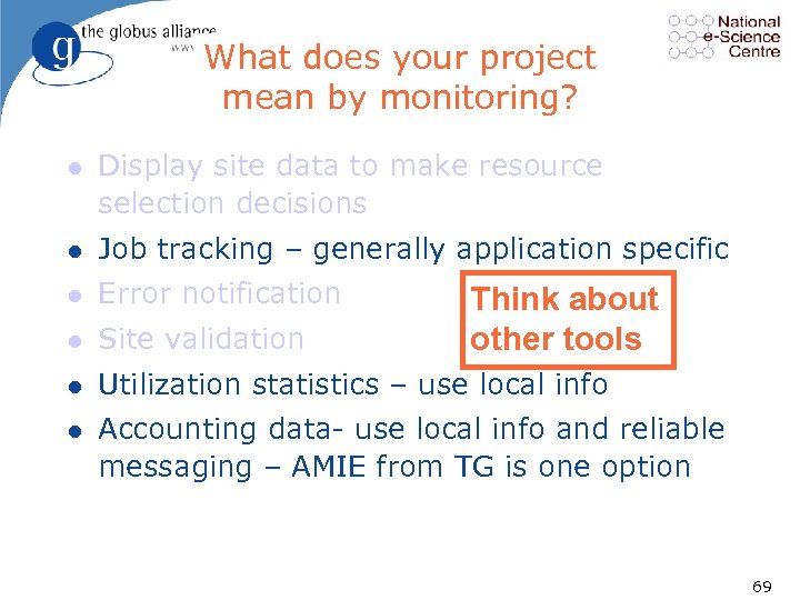 What does your project mean by monitoring? l Display site data to make resource