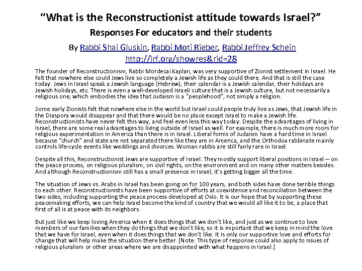 """""""What is the Reconstructionist attitude towards Israel? """" Responses For educators and their students"""