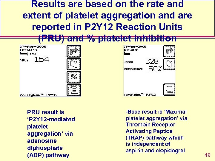 Results are based on the rate and extent of platelet aggregation and are reported