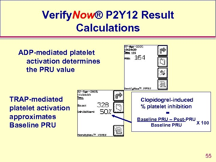 Verify. Now® P 2 Y 12 Result Calculations ADP-mediated platelet activation determines the PRU