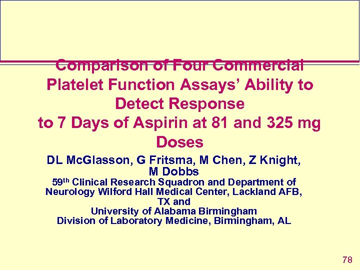 Comparison of Four Commercial Platelet Function Assays' Ability to Detect Response to 7 Days