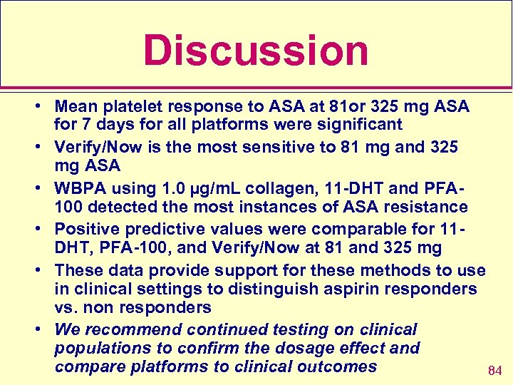 Discussion • Mean platelet response to ASA at 81 or 325 mg ASA for