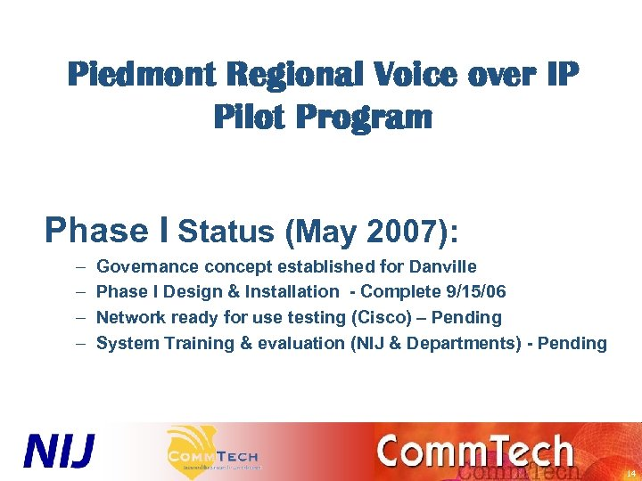 Piedmont Regional Voice over IP Pilot Program Phase I Status (May 2007): – –