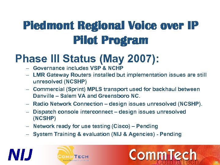 Piedmont Regional Voice over IP Pilot Program Phase III Status (May 2007): – Governance