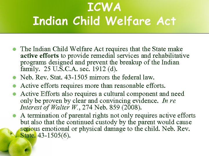 ICWA Indian Child Welfare Act l l l The Indian Child Welfare Act requires