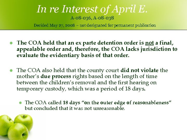 In re Interest of April E. A-08 -036, A-08 -038 Decided May 27, 2008