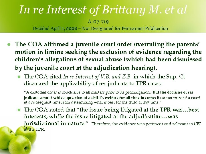 In re Interest of Brittany M. et al A-07 -719 Decided April 1, 2008