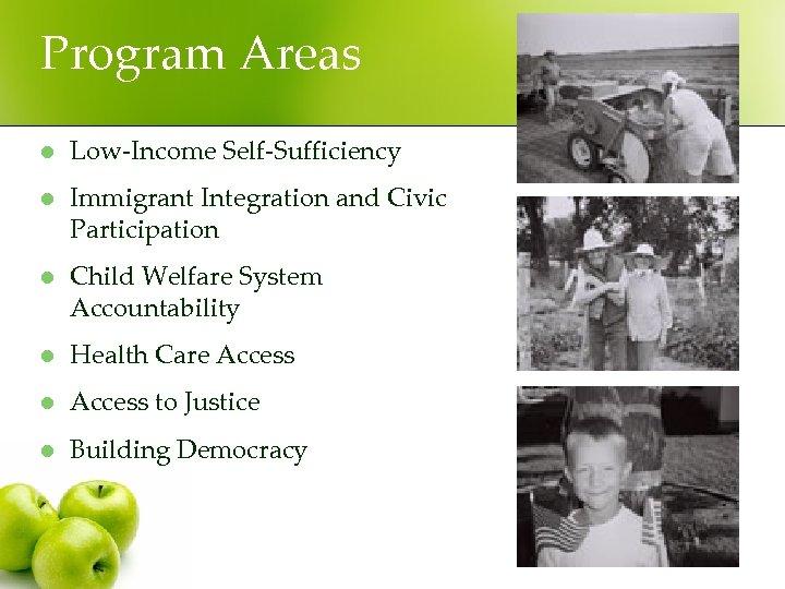 Program Areas l Low-Income Self-Sufficiency l Immigrant Integration and Civic Participation l Child Welfare