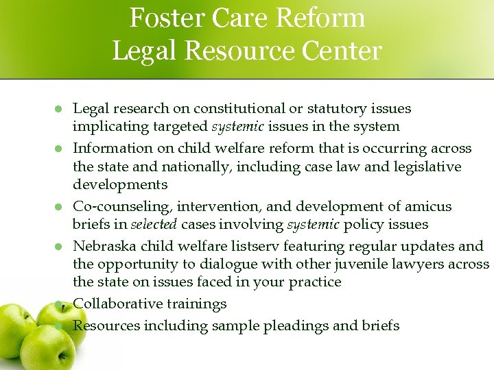 Foster Care Reform Legal Resource Center l l l Legal research on constitutional or