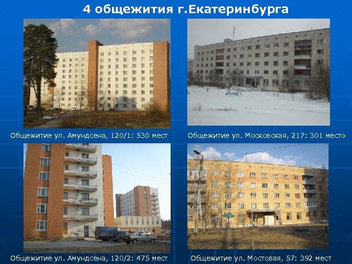 4 общежития г. Екатеринбурга Общежитие ул. Амундсена, 120/1: 530 мест Общежитие ул. Амундсена, 120/2: