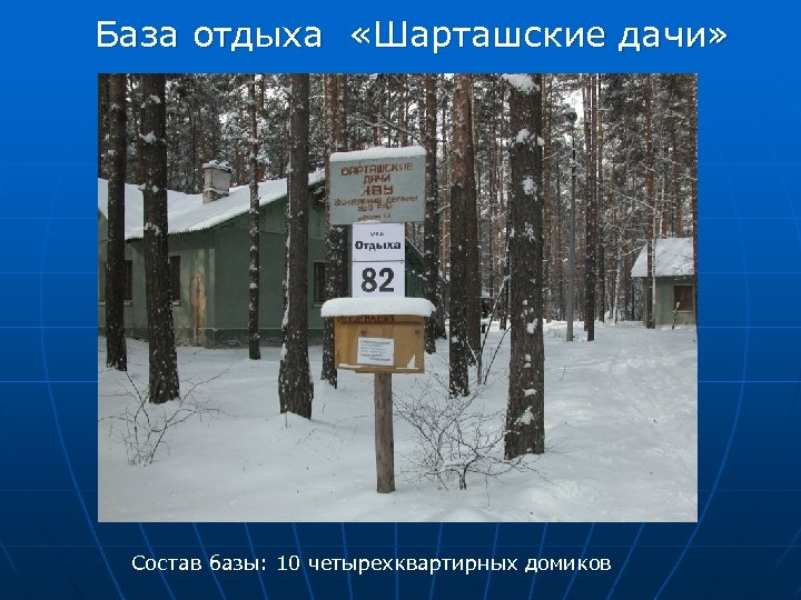 База отдыха «Шарташские дачи» Состав базы: 10 четырехквартирных домиков