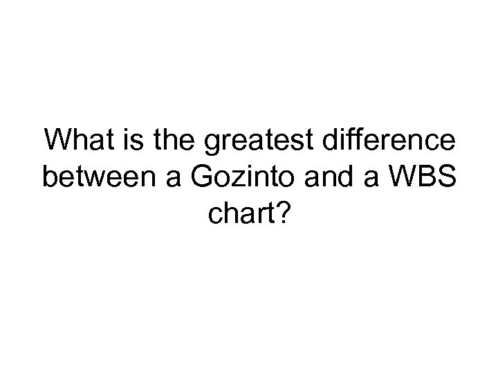 What is the greatest difference between a Gozinto and a WBS chart?