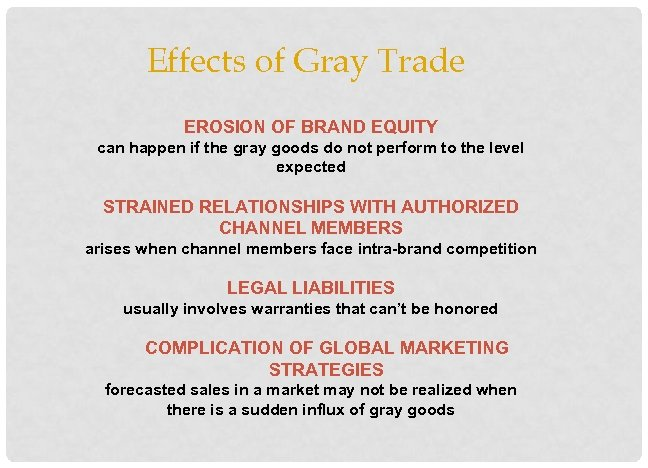 Effects of Gray Trade EROSION OF BRAND EQUITY can happen if the gray goods