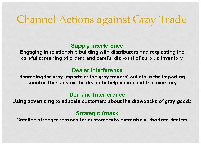 Channel Actions against Gray Trade Supply Interference Engaging in relationship building with distributors and