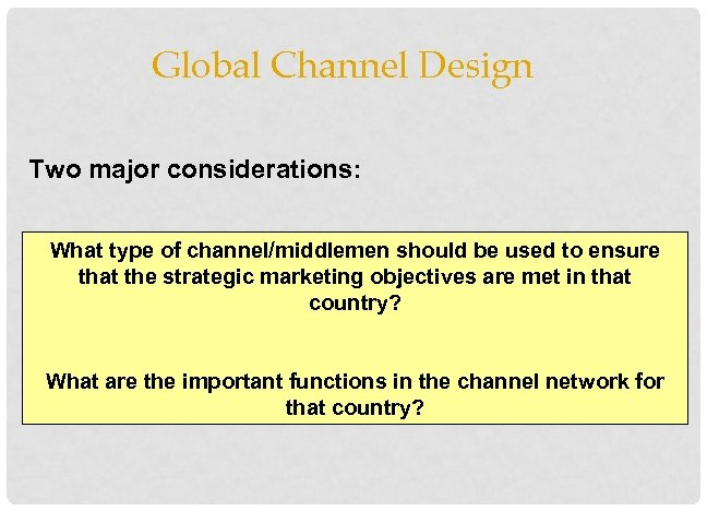 Global Channel Design Two major considerations: What type of channel/middlemen should be used to
