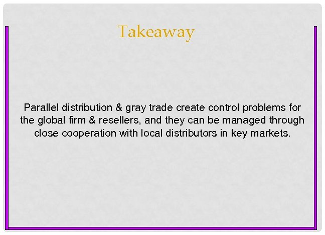 Takeaway Parallel distribution & gray trade create control problems for the global firm &