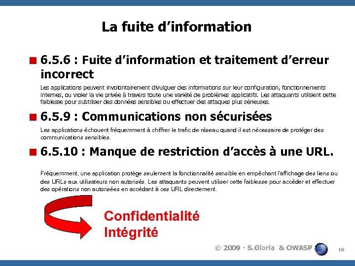 La fuite d'information < 6. 5. 6 : Fuite d'information et traitement d'erreur incorrect