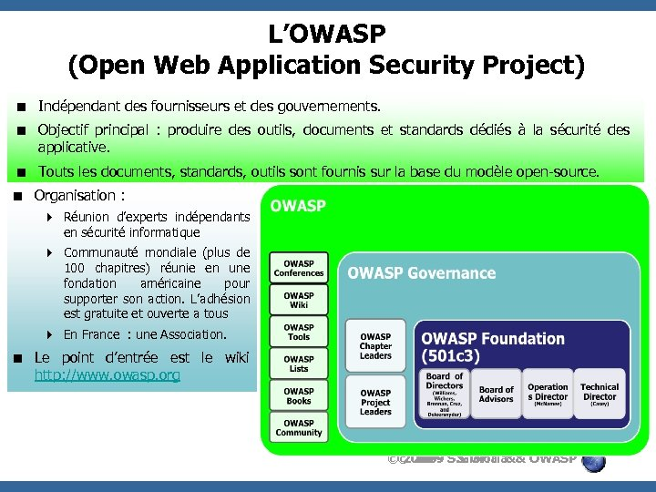 L'OWASP (Open Web Application Security Project) < Indépendant des fournisseurs et des gouvernements. <