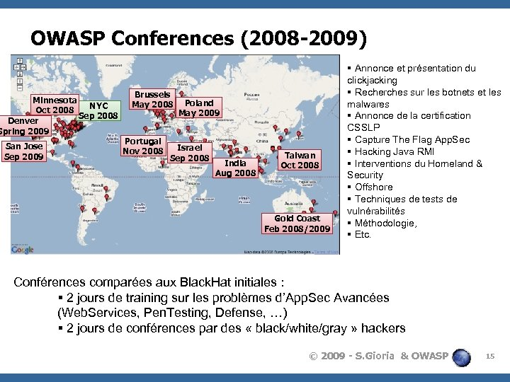 OWASP Conferences (2008 -2009) Minnesota NYC Oct 2008 Sep 2008 Denver Spring 2009 San