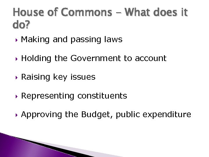 House of Commons - What does it do? Making and passing laws Holding the