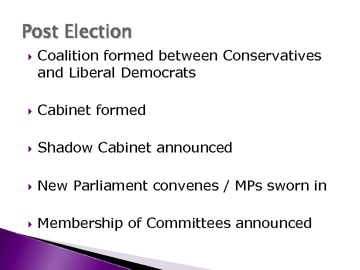Post Election Coalition formed between Conservatives and Liberal Democrats Cabinet formed Shadow Cabinet announced