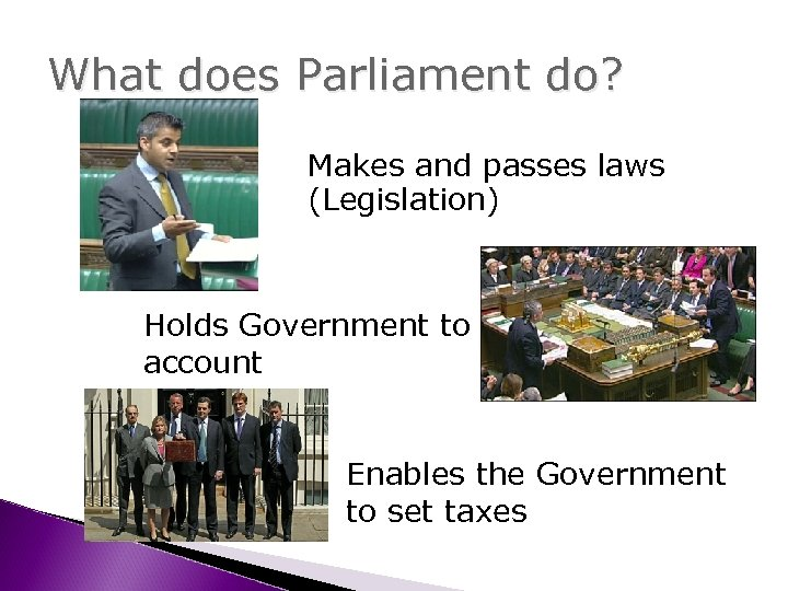 What does Parliament do? Makes and passes laws (Legislation) Holds Government to account Enables