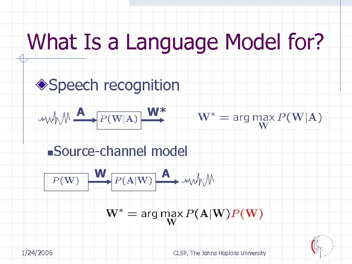 What Is a Language Model for? Speech recognition A n W* Source-channel model W