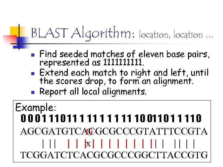 BLAST Algorithm: location, location … n n n Find seeded matches of eleven base