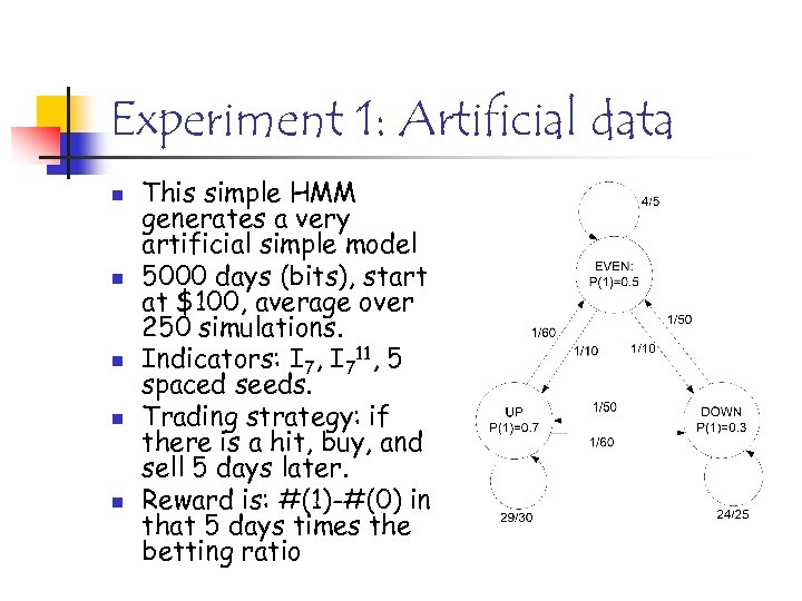 Experiment 1: Artificial data n n n This simple HMM generates a very artificial