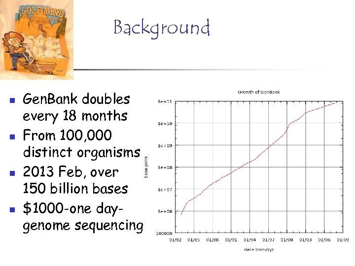 Background n n Gen. Bank doubles every 18 months From 100, 000 distinct organisms