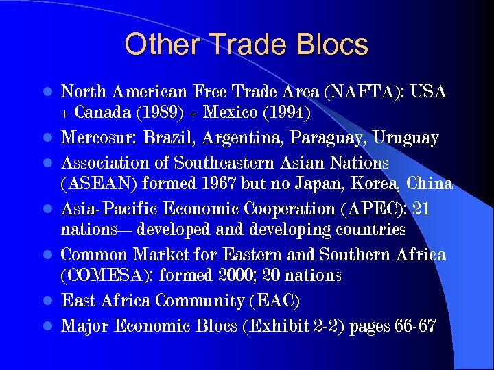 Other Trade Blocs l l l l North American Free Trade Area (NAFTA): USA