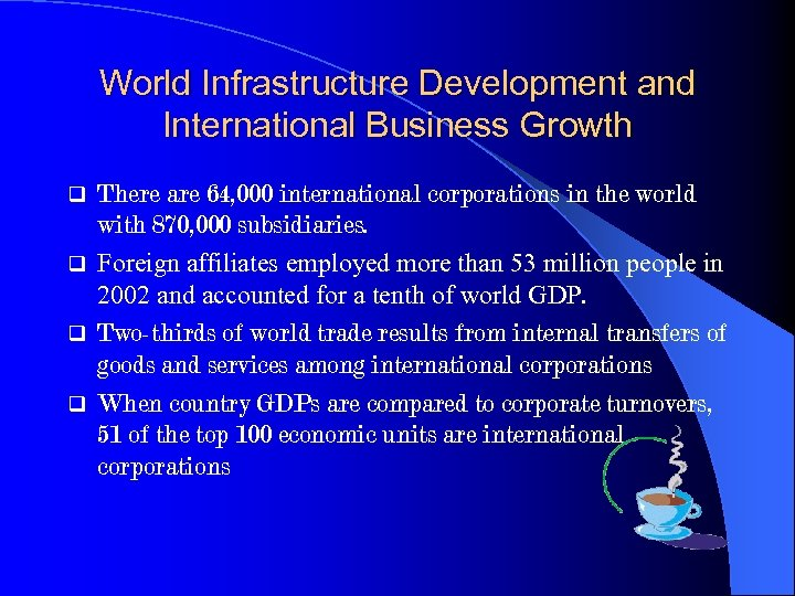 World Infrastructure Development and International Business Growth There are 64, 000 international corporations in