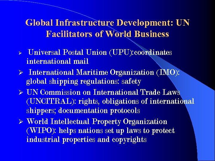 Global Infrastructure Development: UN Facilitators of World Business Universal Postal Union (UPU): coordinates international
