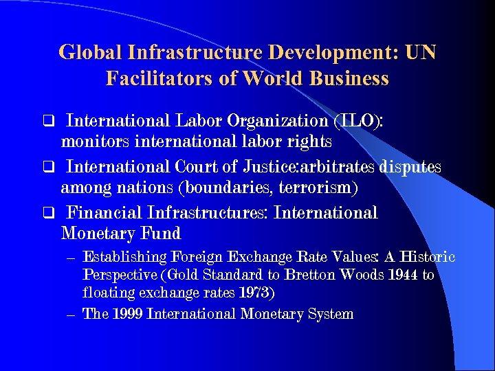 Global Infrastructure Development: UN Facilitators of World Business International Labor Organization (ILO): monitors international