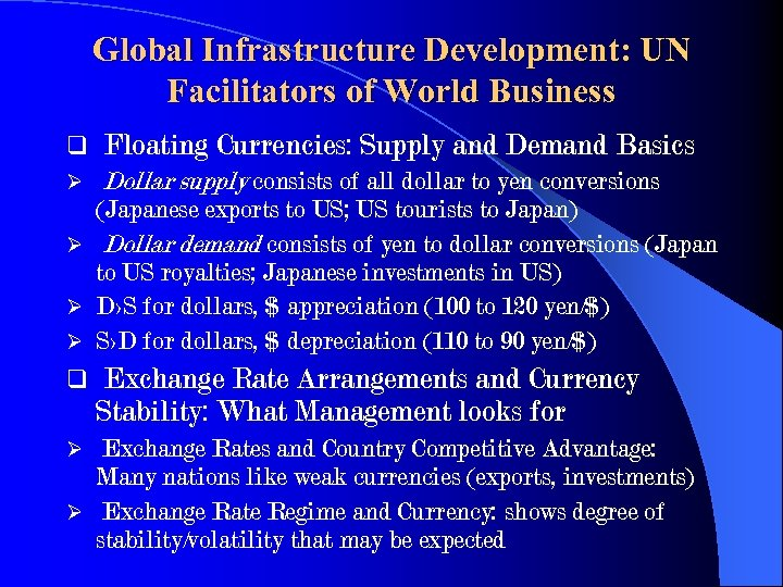 Global Infrastructure Development: UN Facilitators of World Business q Floating Currencies: Supply and Demand