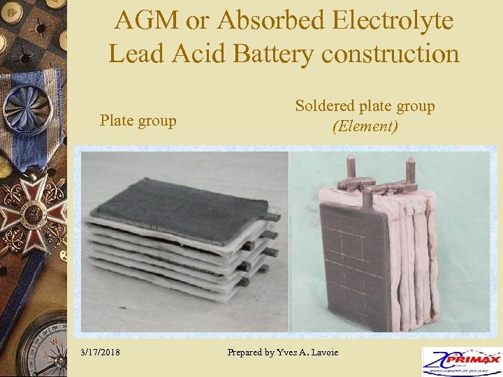 AGM or Absorbed Electrolyte Lead Acid Battery construction Plate group 3/17/2018 Soldered plate group
