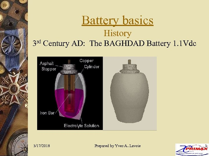 Battery basics History 3 rd Century AD: The BAGHDAD Battery 1. 1 Vdc 3/17/2018