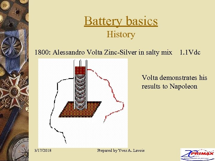 Battery basics History 1800: Alessandro Volta Zinc-Silver in salty mix 1. 1 Vdc Volta