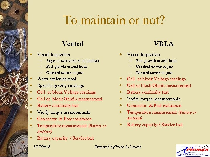 To maintain or not? Vented w w w Visual Inspection – – – w
