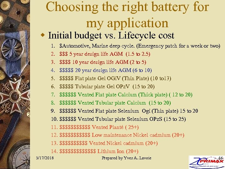 Choosing the right battery for my application w Initial budget vs. Lifecycle cost 1.
