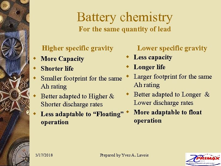 Battery chemistry For the same quantity of lead Higher specific gravity w w More
