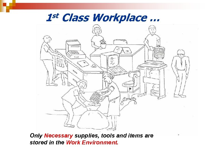 1 st Class Workplace … Only Necessary supplies, tools and items are stored in