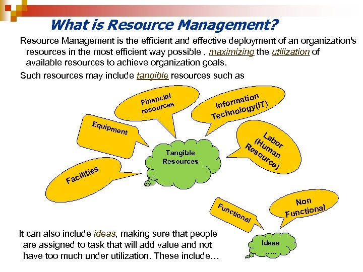 What is Resource Management? Resource Management is the efficient and effective deployment of an