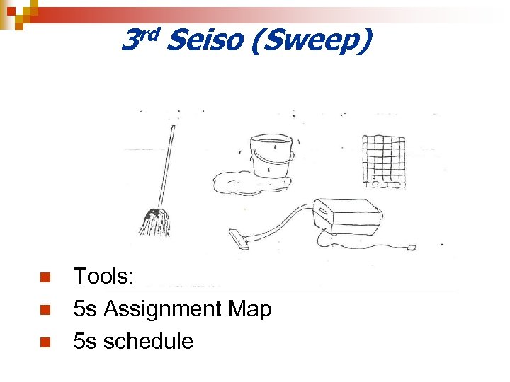 3 rd Seiso (Sweep) n n n Tools: 5 s Assignment Map 5 s