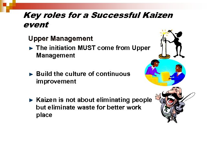 Key roles for a Successful Kaizen event Upper Management The initiation MUST come from