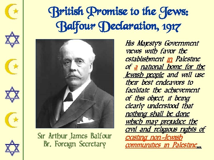 British Promise to the Jews: Balfour Declaration, 1917 Sir Arthur James Balfour Br. Foreign