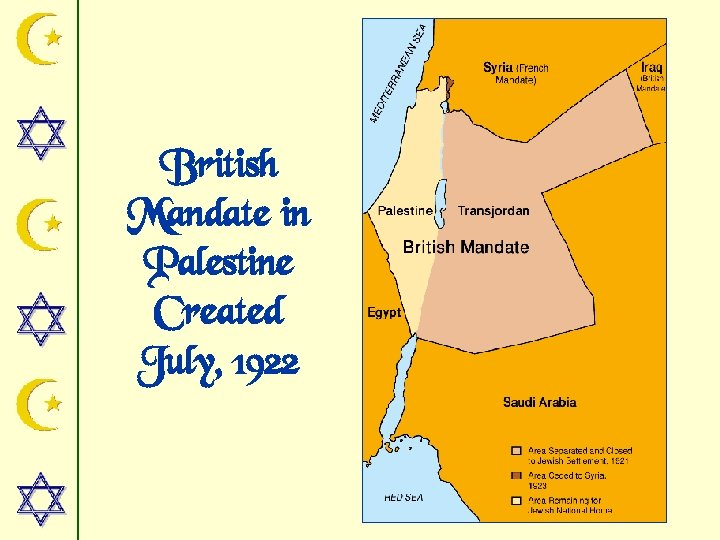 British Mandate in Palestine Created July, 1922